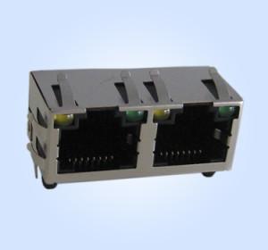 RJ45 Modular Jack 1*2 8P8C w/ LEDs w/ EMI Finger