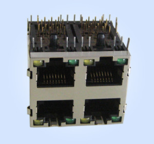 RJ45 Stacked PCB Modular Jack 2*2 w/ LEDs w/EMI Finger