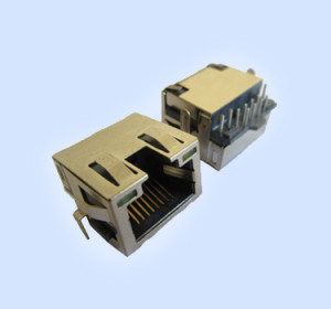 RJ45 Modular Jacks With LED Embedded R/A 8P8C